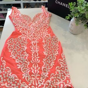 Holt Miami Dress in Coral with white